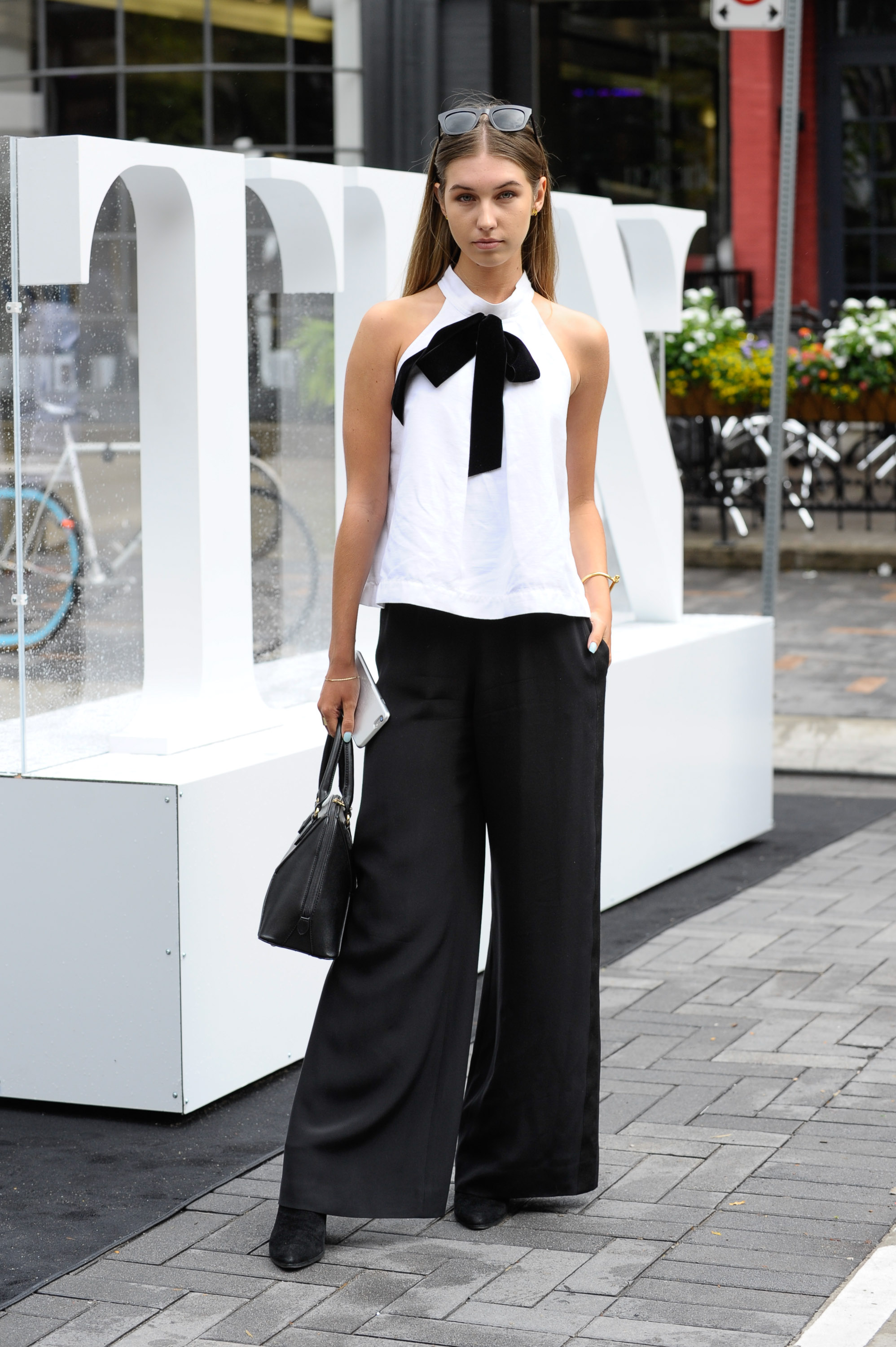 There's nothing basic about this black and white ensemble. (Photography by George Pimentel)